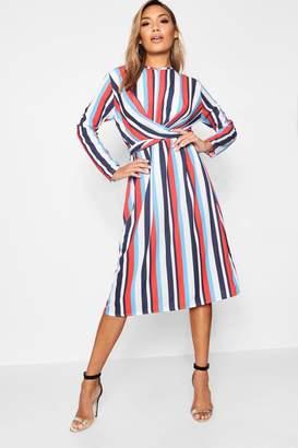 boohoo Stripe Wrap Front Woven Midi Dress