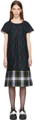 Comme des Garcons Green and Navy Tartan Check Dress