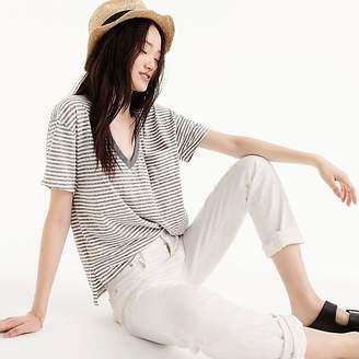 J.Crew Slub cotton V-neck t-shirt in stripes