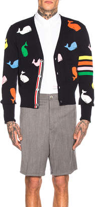 Thom Browne Whale Icon Cardigan in Navy | FWRD