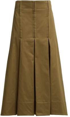 Marni Pleated Cotton Sateen Skirt - Womens - Dark Green