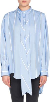 Balenciaga Striped Long-Sleeve New Swing Blouse with Logo