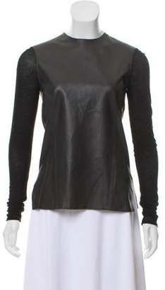 Helmut Lang Long Sleeve Leather Top Black Long Sleeve Leather Top