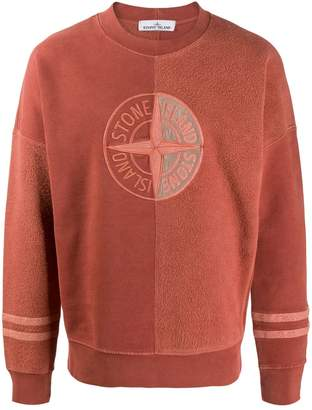 Stone Island logo fleece panelled sweatshirt