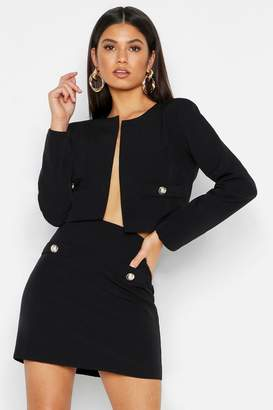 boohoo Woven Collarless Button Cropped Jacket