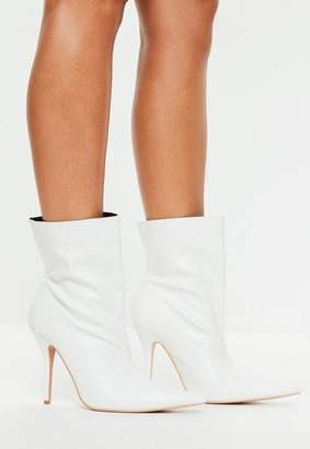 Missguided White Pointed Ankle Boots