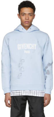 Givenchy Blue Distressed Logo Hoodie