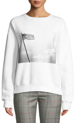 Calvin Klein Andy Warhol American-Flag Photo Print Crewneck Long-Sleeve Sweatshirt