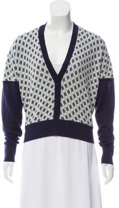 Zac Posen Checker Pattern Wool Cardigan