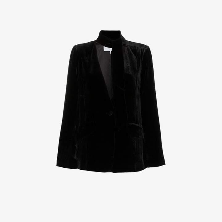 Denim tie neck collarless silk blend velvet blazer