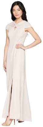 Adrianna Papell Petite Twist Neck Long Stretch Crepe Gown Women's Dress