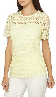 Dorothy Perkins Tall Lemon Geometric Lace T-Shirt