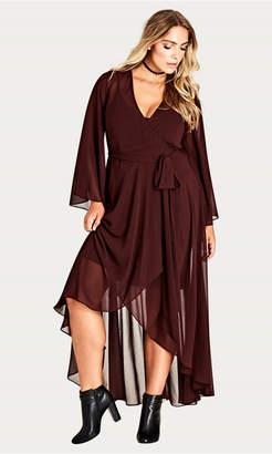 City Chic Fleetwood Chiffon Wrap Maxi Dress