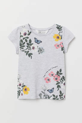 H&M Jersey Top with Printed Design - Gray