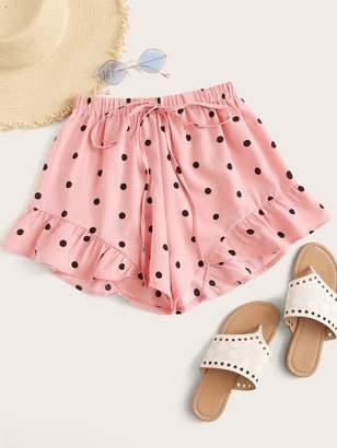 Shein Polka Dot Drawstring Waist Ruffle Hem Shorts