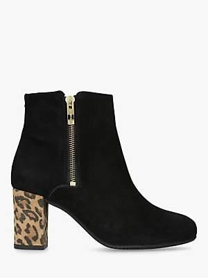 Carvela Comfort Rail Side Zip Ankle Boots, Black Suede