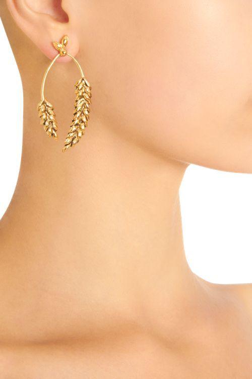 Aurelie Bidermann Gold Wheat Pendant Earrings-Colorless