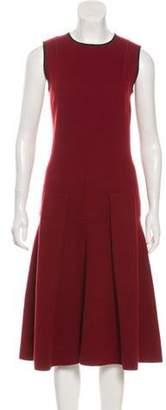 Oscar de la Renta Sleeveless Wool-Blend Dress Red Sleeveless Wool-Blend Dress