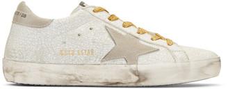 Golden Goose White Crash Superstar Sneakers $480 thestylecure.com