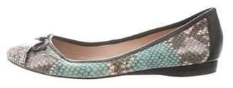 Jean-Michel Cazabat Snakeskin Leather-Trimmed Flats