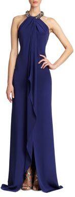 Carmen Marc Valvo Sleeveless Silk Halter Gown $1,075 thestylecure.com