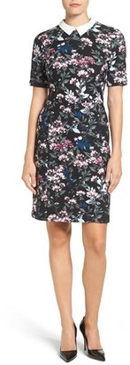Women's Ivanka Trump Contrast Collar Floral Shirtdress $138 thestylecure.com
