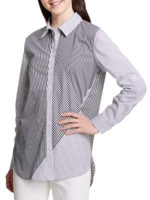 f93d5383d Calvin Klein Black Women's Button Front Tops on Sale - ShopStyle