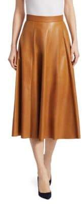 Ralph Lauren Collection Leather A-Line Skirt