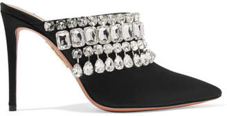 Aquazzura Gem Palace Crystal-embellished Satin Mules - Black