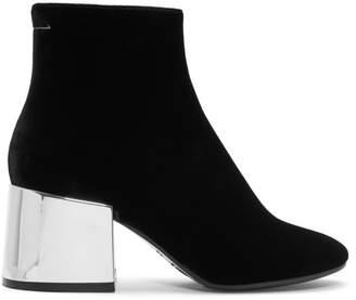 Maison Margiela Black Velvet Cube Heel Boots