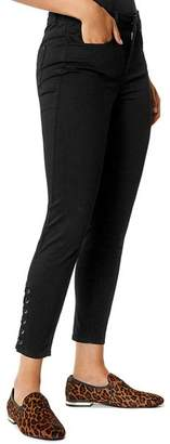 Karen Millen Lace-Up Cropped Skinny Jeans in Black - 100% Exclusive