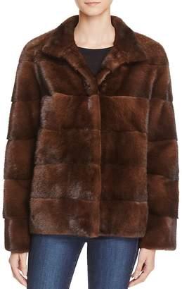 Maximilian Furs Sheep Leather Trim Mink Fur Coat