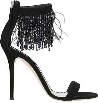 Giuseppe Zanotti Black Suede Crystals Sandals