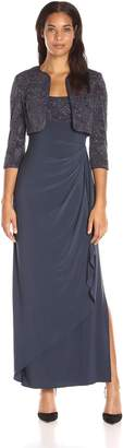 Alex Evenings Women's Long Side Ruched Dress with Bolero Jacket (Petite and Regular Sizes)