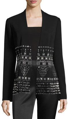 St. John Collection Beaded Classic Stretch Cady Jacket, Black $1,995 thestylecure.com