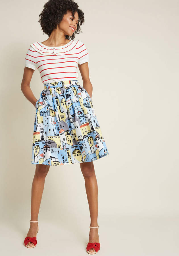 Charming Cotton Skirt with Pockets in Village in 1X - Full Skirt Mid