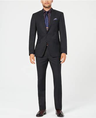 Tallia Men Slim-Fit Stretch Black/White Pindot Wool Suit