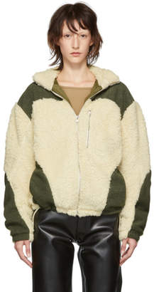 Off-White GmbH and Green Teddy Fleece Kol Zip-Up Sweater