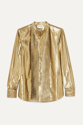 Saint Laurent Pintucked Lamé Shirt - Gold