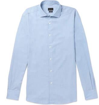 Ermenegildo Zegna Cutaway-Collar Cotton and Cashmere-Blend Shirt
