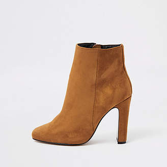 d57cd1dff4 at River Island · River Island Womens Brown wide fit square toe ankle boots