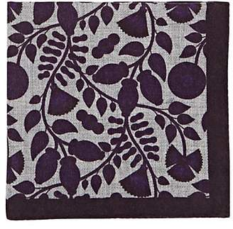 Barneys New York Men's Leaf-Print Wool Pocket Square - Purple