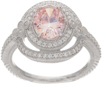 Judith Ripka Sterling or 14K Clad Diamonique & Simulated Morganite Ring