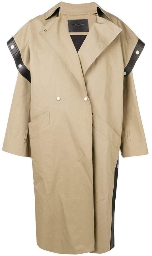 square-shoulder oversized trench coat