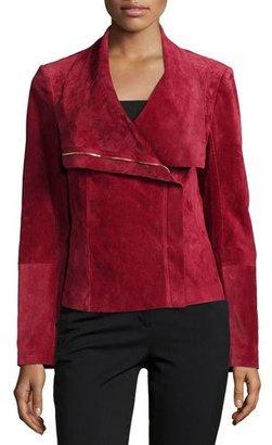 Neiman Marcus Suede Asymmetric Zip-Front Jacket $425 thestylecure.com