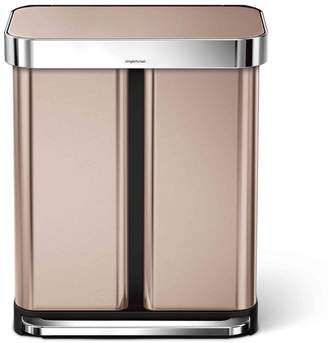 Williams-Sonoma simplehuman 58-L. Dual Compartment Rectangular Step Can, Rose Gold Stainless-Steel