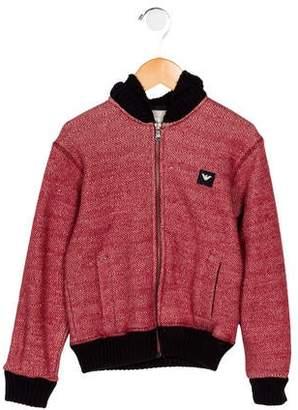 Armani Junior Boys' Hooded Patterned Sweatshirt
