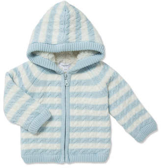 Angel Dear Sherpa Cable Knit Zip-Up Hoodie, Size 0-18 Months
