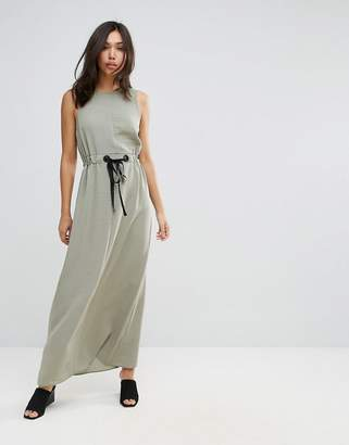 Asos Eyelet Waist Casual Maxi Dress