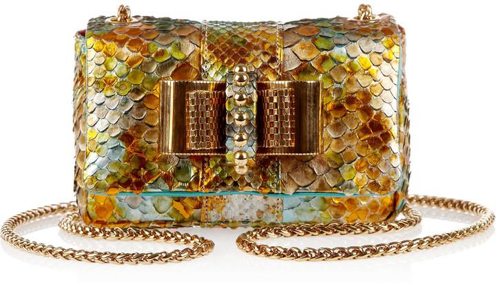 Christian Louboutin Sweety Charity metallic python mini shoulder bag